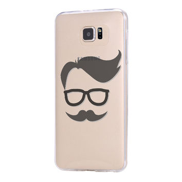 Mustache Style Galaxy s6 Case Galaxy S6 Edge Case Galaxy S5 Clear Hard case C049