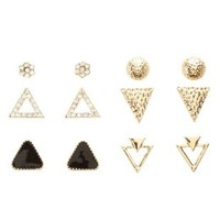 Geometric Stud Earrings - 6 Pack by Charlotte Russe - Gold