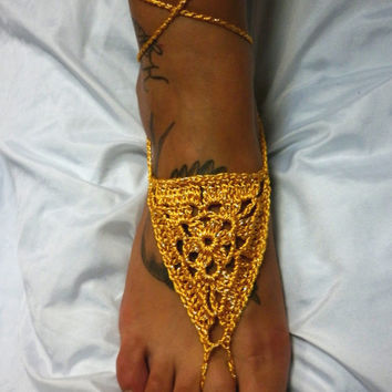 Barefoot Sandals Footless Sandals Anklet Toe Ring Foot Jewelry Boho Bohemian Dreamcatcher Sexy Gold Beach
