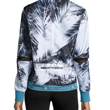 adidas by Stella McCartney Palm-Print Run Jacket, Black/White