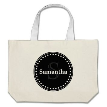 Black elegant monogram jumbo tote bag