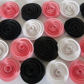 "Pink White and Black Paper Flowers, 24 roses, Girl Princess Tea Party Table top Decorations, Baby Shower Decor, Feminine Home Accent 1.5"" blooms"