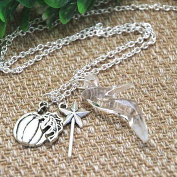20pcs  Cinderella Glass Slipper Necklace with Magic Wand and Pumpkin Charms necklaces