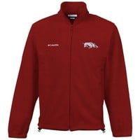 Columbia Arkansas Razorbacks Flanker II Full Zip Fleece Jacket - Cardinal