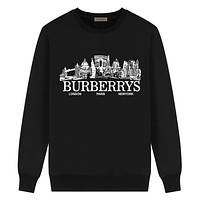 Burberry New fashion letter building pattern print couple long sleeve top sweater Black