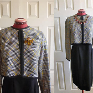 Leslie Fay dress with attached crop blazer. formal dress. black dress.  size 6 US