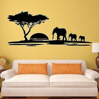 Vinyl Decal Wall Stickers Elephant African Animals Landscape Tree Mural Unique Gift (ig1918)