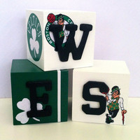 Boston Celtics Personalized Name Blocks  Wes by StevieRianDesigns