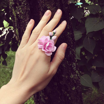 Flower ring - freesia  blossom - rustic ring - flower girl ring - polymer clay ring - adjustable ring