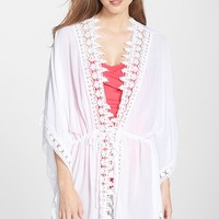 Women's La Blanca 'Costa Brava' Crochet Trim Kimono Sleeve Cover-Up,