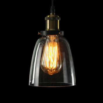 Modern Vintage Retro Industrial Loft Ceiling Light Crystal Glass Pendant Chandelier Fixture Lamp Shade