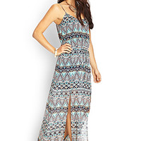 LOVE 21 Abstract Cami Maxi Dress Navy/Turquoise