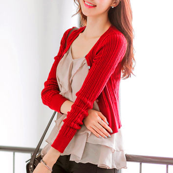 Spring Autumn cardigans women sweater blazer cardigan pure color long-sleeve short sweaters Knitting unlined upper