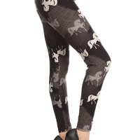Women's Horse Leggings Western Black/White: OS/PLUS
