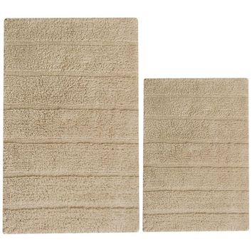 Absorbent Nature Solid Cotton 2 Piece Bath Rug Set, Beige