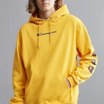 Champion Fashion man women Hedging Hooded pullover long sleeve Sports yellow sweater TOP