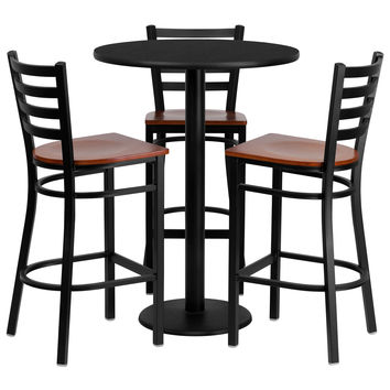 Flash Furniture 30'' Round Black Laminate Table Set with 3 Ladder Back Metal Bar Stools - Cherry Wood Seat [MD-0013-GG]