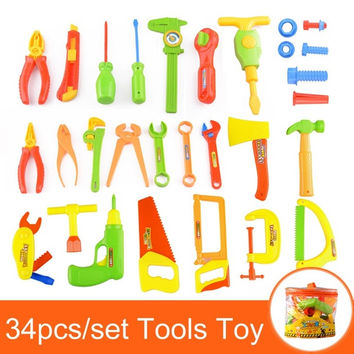 34pcs/set Baby Early Learning&Education Children toys Repair tools Toy Pretend Play Play House Toys = 1945930116