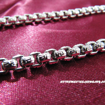 316L Stainless Steel Chain Necklace with Greek Key on Rounded Box Link Chain 5mm
