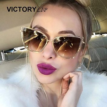 VictoryLip 2017 Newest Arrival Oversized Sunglasses Women Fashion Cat Eye Sunglass Vintage Brand Designer Champagne Sun Glasses
