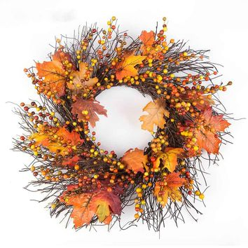 50cm Berry Fall Maple Leaves Wall Door Hanging Fake Artificial Flower Wreath Garland Thanksgiving Day Wedding Home Decoration