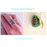 Green Agate Ring. Pyrite accents. Adjustable. Jewelry. Trendy. Iridescent, yellow. Teen, women, ladies.