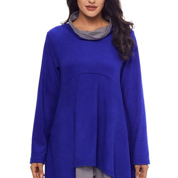 Cowl Neck Patchwork Cobalt Blue Loose Fit Sweatshirt