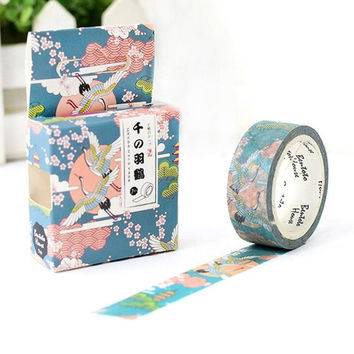JA108 Flying Crane in The Cloud Decorative Washi Tape DIY Scrapbooking Masking Tape School Office Supply Escolar Papelaria