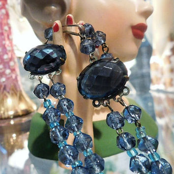 W GERMANY Glass Crystal Necklace Choker 1950s 50s Mid Century Midcentury Double Strand Necklace Givre Cobalt Blue AB Aurora Borealis Bride