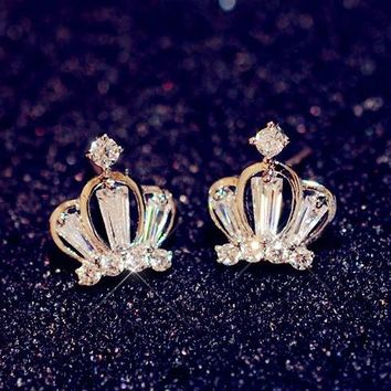 Queen's Crown Gold and Rhinestone Earrings - LilyFair Jewelry