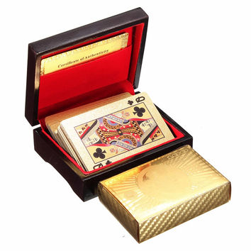 High Quality Special Unusual Gift 24K Carat Gold Foil Plated Poker Playing Card With Wooden Box And Certificate NEW