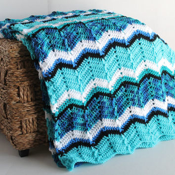 Afghan - Handmade Ripple Crochet Blanket - Blues, Black, White, Aqua - Full Size