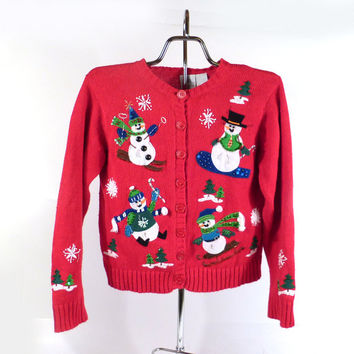 Ugly Christmas Sweater Vintage Kid's Toddler Snowman Cardigan Tacky Holiday