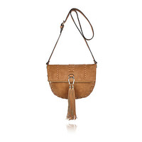 Tan whipstitch tassel saddle handbag - cross body bags - bags / purses - women