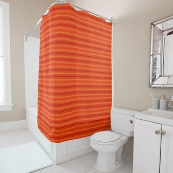 Rustic Orange Aztec Stripes Pattern Shower Curtain