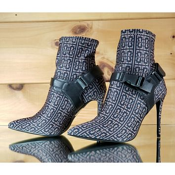 "CR Printed Pull On Stretch Pointy Toe Harness Ankle Boot 4"" High Heels Mocha"