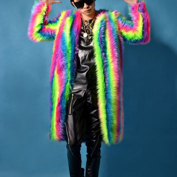 2016 male costume rainbow Plush coat long jacket cool nightclub clothing outdoors slim wear performance show star dancer singer