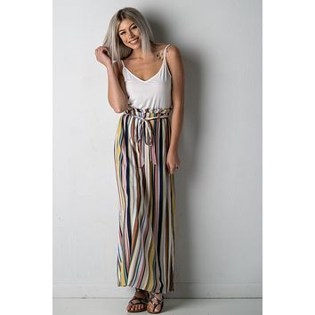 Lovely Lauren Multi Color Striped Maxi Dress