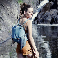 Apache suede backpack in blue by SABRINATACH on Etsy