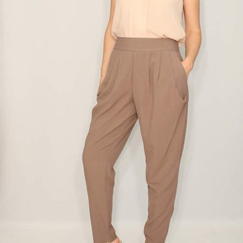 Taupe pants Harem Career Pants Women trousers Office Fashion