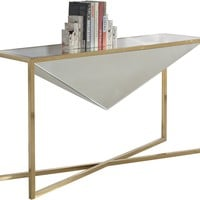 Krystal Console Table Mirrored Top and Center Diamond Design