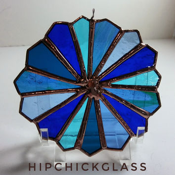 Blue stained glass ornament, blue color wheel sun catcher