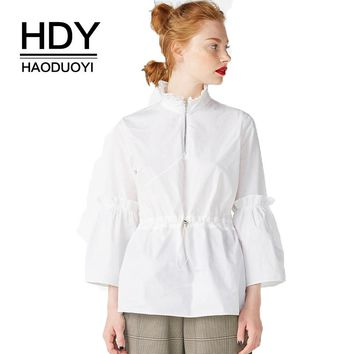 Solid White Women Sweet Shirts Elastic Waist High Neck Trumpet Sleeve Female Casual Blouses Ruffles Lace Up Tops