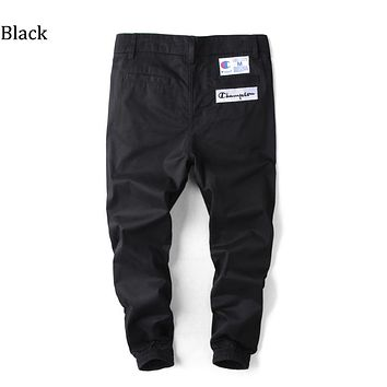 Champion Tide brand embroidered men's trousers, hips, jogging, Harlan casual pants Black