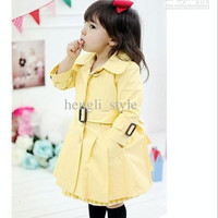 Girls Children Sweet Princess Tench Coat New Spring Autumn Girls' Long Coats/Outwear with Belts Pretty Baby Clothing Kids' Coats 5pcs/lot