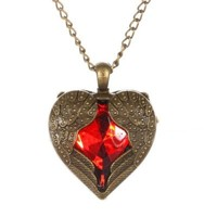 YAZILIND Jewelry Bronze Heart Angel Wing with Red Rhinestone Pendant Long Retro Chain Necklace Women Girls Gift Idea