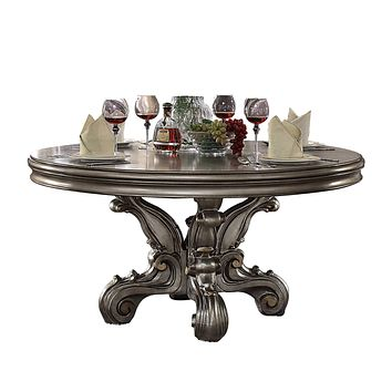 Lavish Antique Platinum Round Pedestal Dining Table
