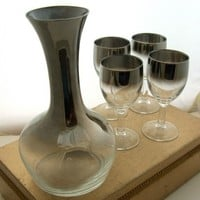 4 Vintage Silver Rimmed Ombre Licquor Sherry Glasses Decanter Mad Men | BeauMonde - Glass on ArtFire