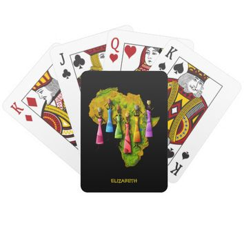 African Women In Colorful Dresses On Africa Map Poker Deck