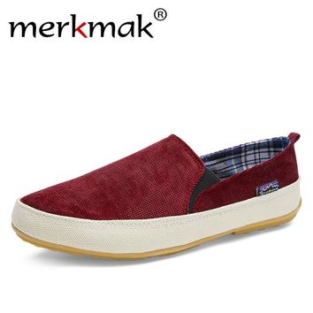 Merkmak Shoes New Arrival! 2017 fashion Men's Breathable Canvas Casual Shoes Moccasin Slip-On Slippers Slip On Men Flat Shoes